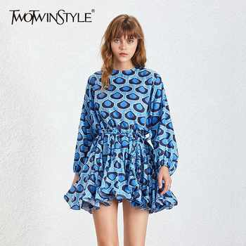 TWOTWINSTYLE 2019 Print Mini Women's Dress Long Sleeve O Neck High Waist Sashes Slim A Line Dresses Female 2019 Fashion New Tide - DISCOUNT ITEM  39% OFF All Category