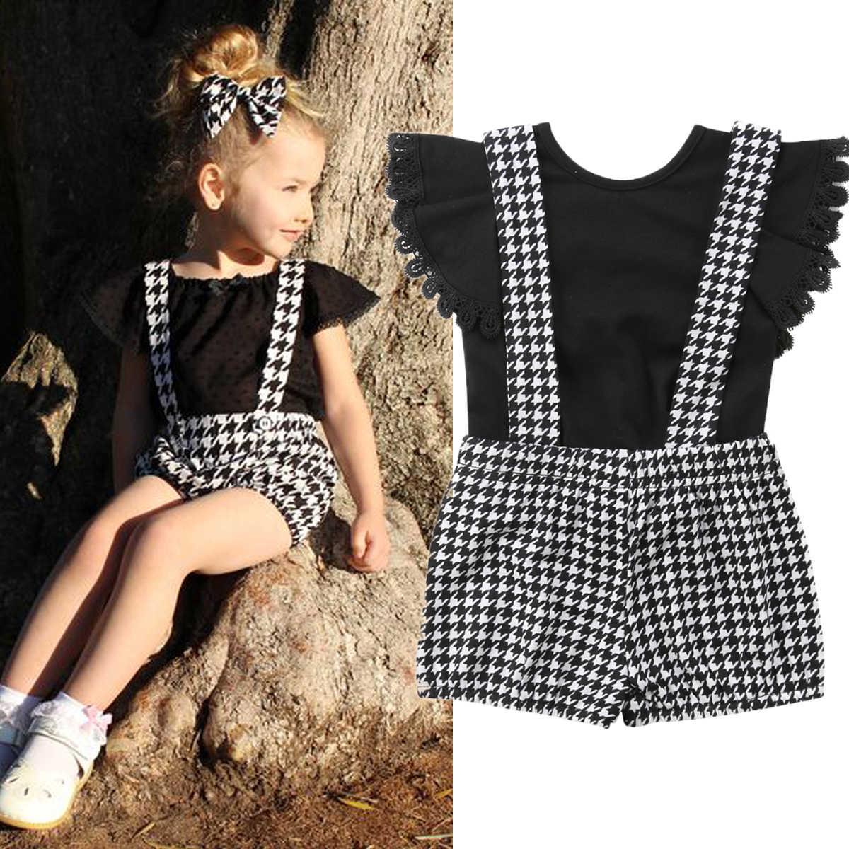 9c2387998e46 2019 Fashion Toddler Kid Baby Clothes Summer Lace Short Sleeve T Shirt Plaid  Bib Pants 2Pcs