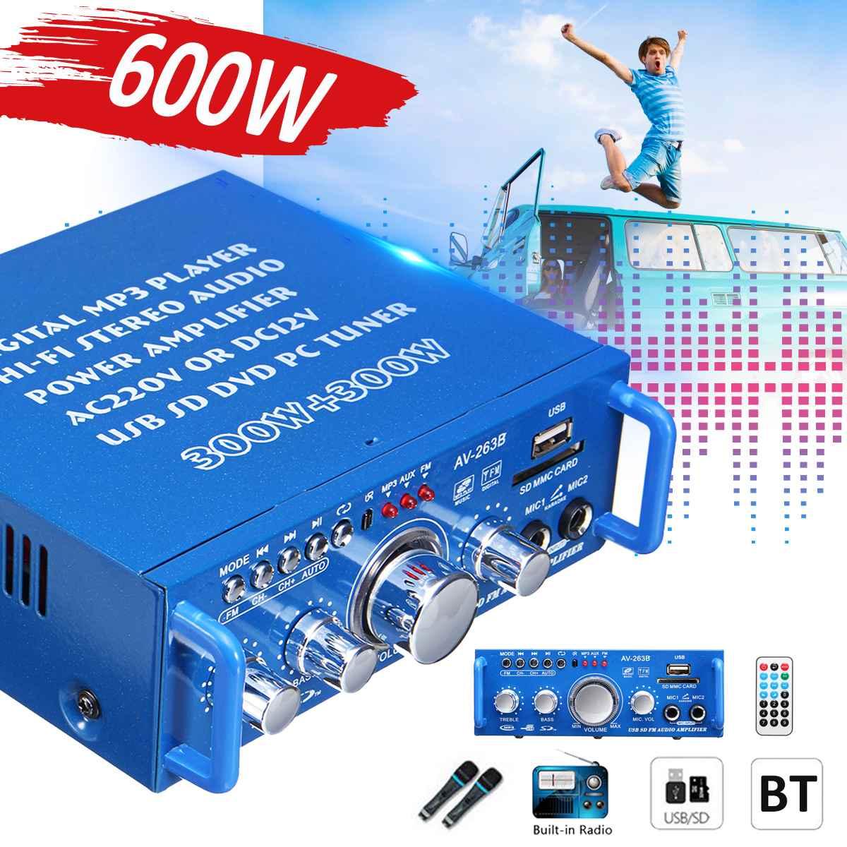 DC 12 V AC 220 V 600 W HIFI 2CH Voiture bluetooth Stéréo amplificateur de puissance audio FM Radio Home Cinéma Amplificateurs Avec télécommande