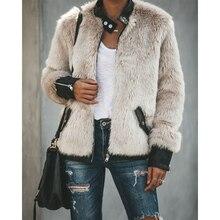 Женский теплый плюшевый мишка, флисовая кожаная Лоскутная куртка с карманами и длинным рукавом, тонкая куртка на молнии, верхняя одежда больших размеров, пальто