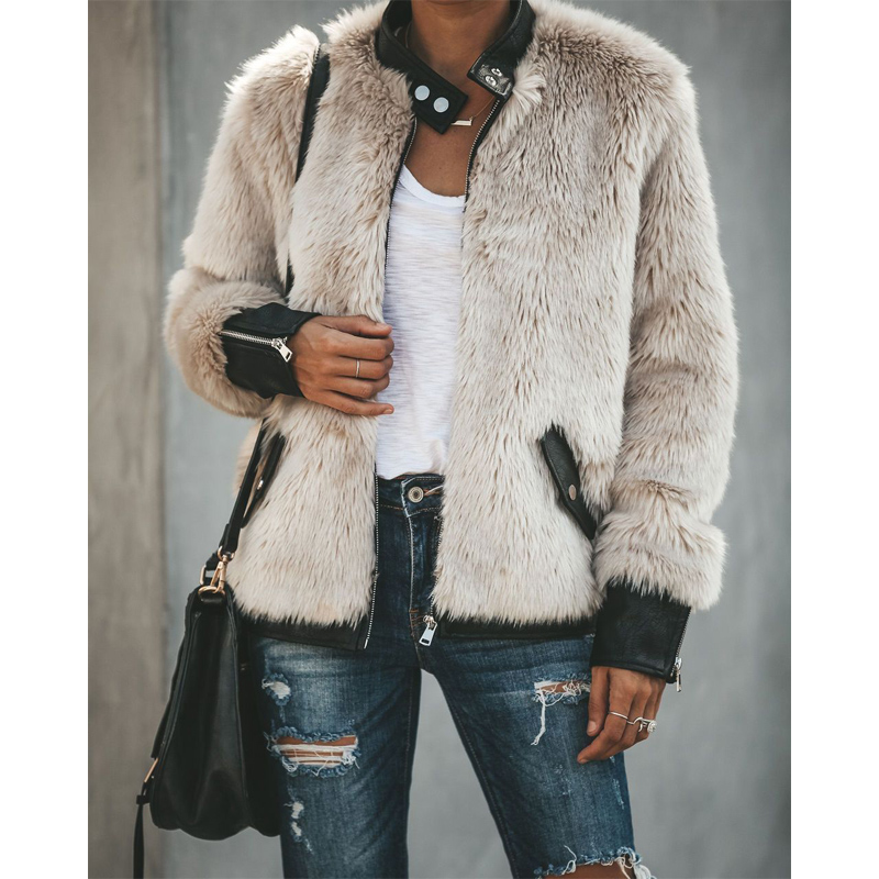 Women Warm Teddy Bear Fleece Leather Patchwork Pocket Long Sleeve Slim Jacket Zip Up Oversize Outwear Coats