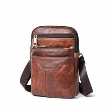 Брендовая мужская модная сумка из натуральной кожи через плечо Маленькая мужская сумка на плечо деловая кожаная сумка-мессенджер Повседневная мужские сумки