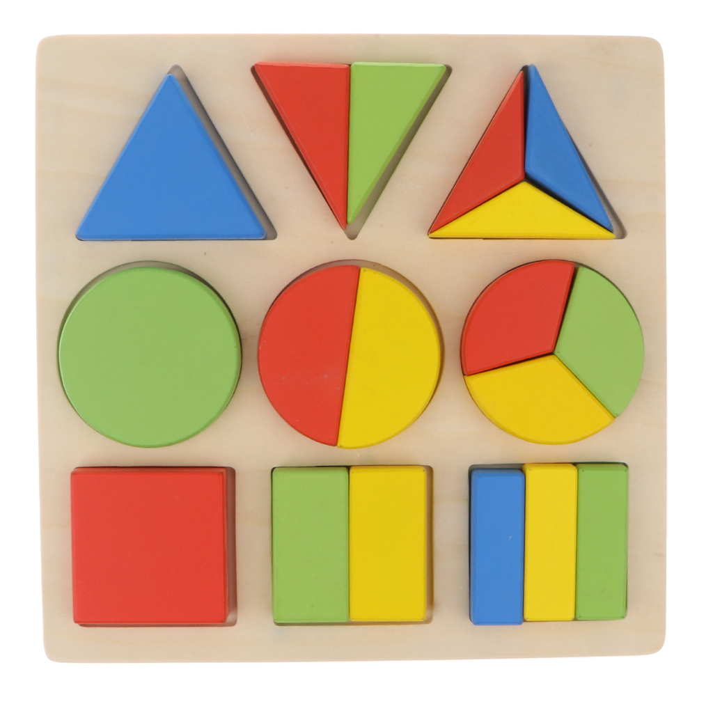 Rational Kids Educational Montessori Toy Learning & Education Wooden 1 To 1/3 Fraction Board Puzzle Color Shape Learning Toy For Kids Demand Exceeding Supply Color & Shape
