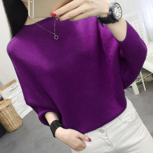 Women Autumn Winter Sexy Loose Slash Neck Long Sleeve Solid Pullover Jumper For Female Causal  Sweater
