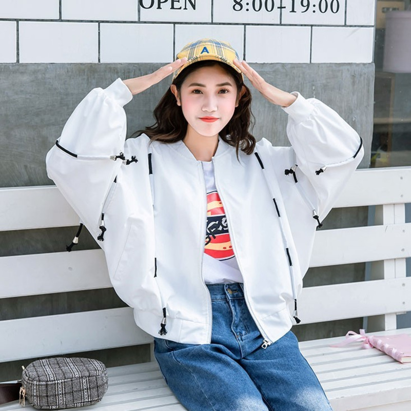 5610 Spring2019 Loose Bat Sleeve Coat Women Plus Size Thin Harajuku Hip Hop Bomber Jacket Windbreaker Outerwear Red Black White in Jackets from Women 39 s Clothing