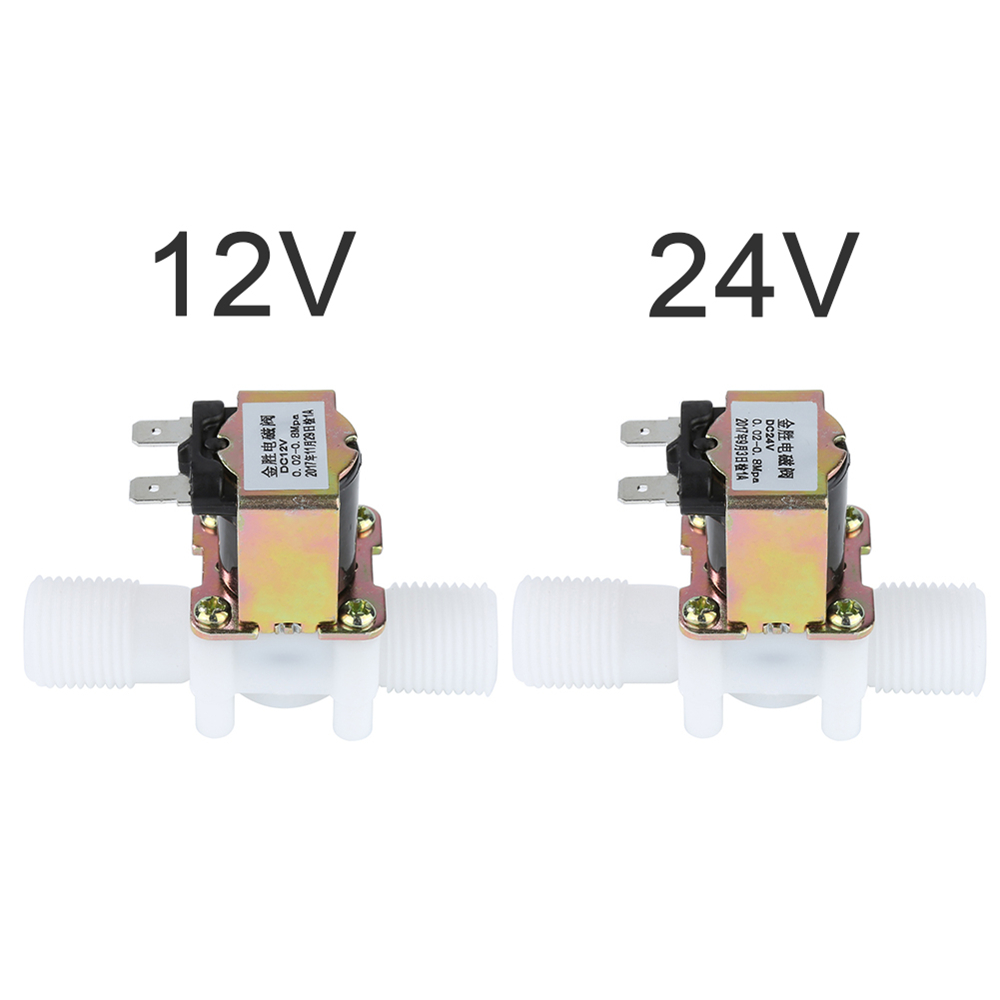 "12V/24V Universal 1/2"" N/C Plastic Electric Solenoid Valve Magnetic Water Air Normally Closed Nominal Pressure Controller Switch"