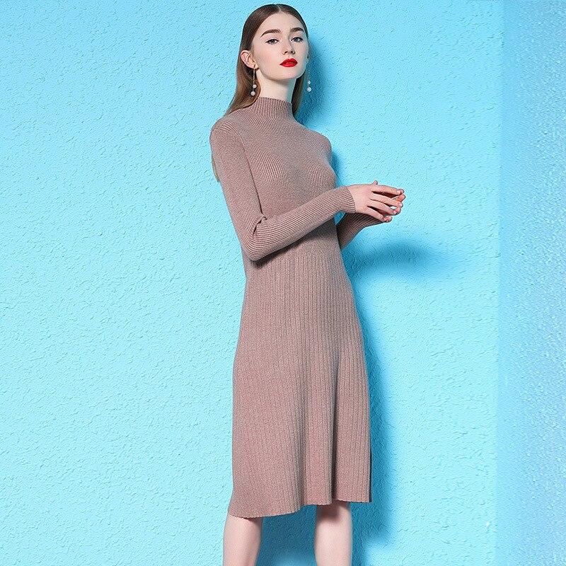 2018 hiver nouvelle à manches longues tricot robe féminine taille haute longue tout-allumette basant chandail robe d'hiver femme nw18d3035