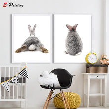 Morden Print Nordic Poster Canvas Wall Art Cute Animal Grey Rabbit Painting Pictures for Living Room Living Room Home Decor(China)