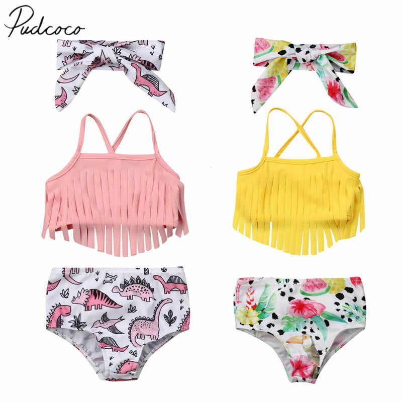 2019 Summer Swimsuit Newborn Infant Baby Girl Swimwear Suit  Tassel Crops Tops + Dinosaur High Waist Shorts Outfit Beach Tankini