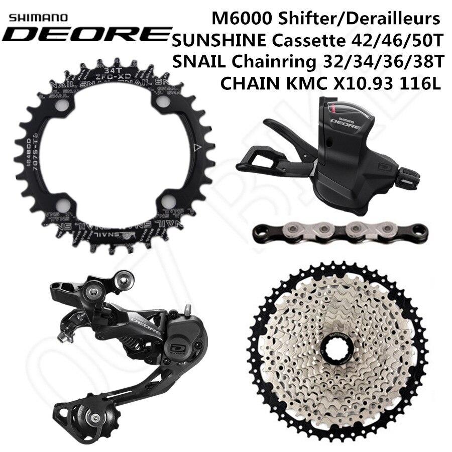 SHIMANO DEORE M6000 Groupset MTB Bike 1x10 Speed 42T 46T 50T SL RD SUNSHINE CHAINRING X10