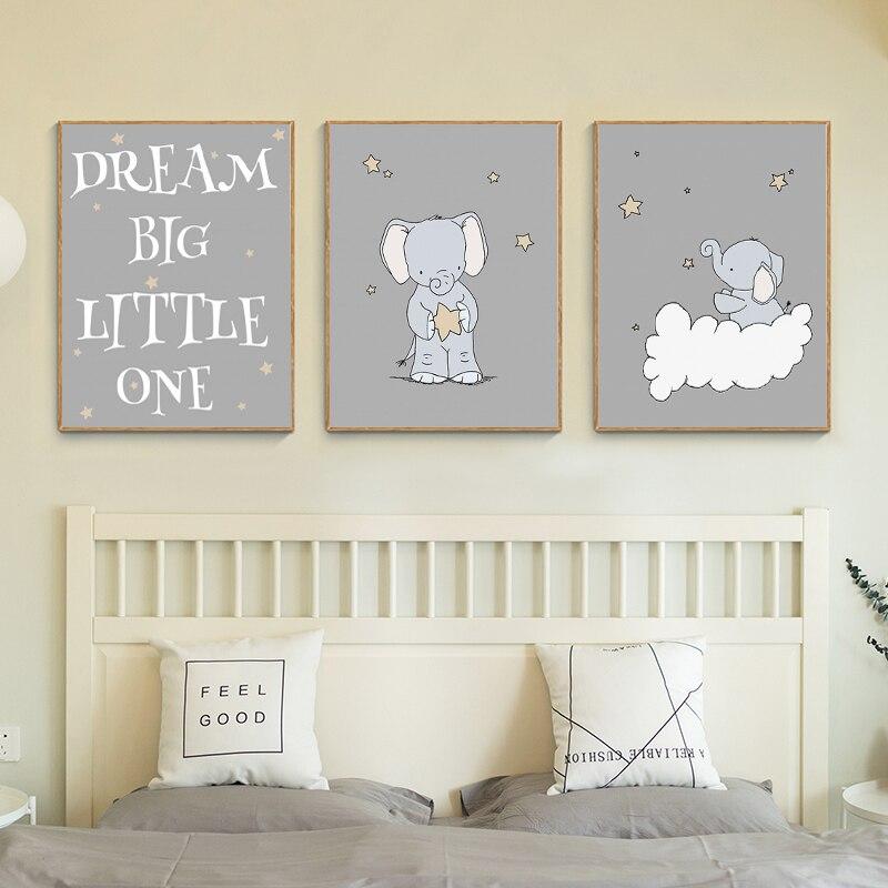 Rabbit /& Bear Dream Big Little One Prints Pictures Neutral Nursery Decor