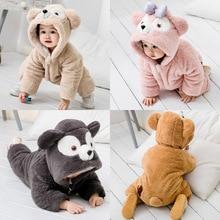 Купить с кэшбэком 2019 Baby Winter Romper Clothes Cartoon Baby Costume Flannel Baby Girl Clothes Animal Romper Jumpsuit Warm Newborn Infant Romper