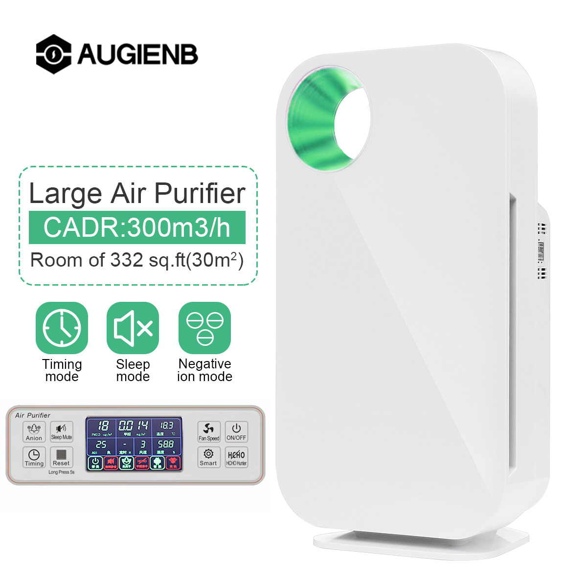 AUGIENB HEPA Filter Home Air Purifier 5 Stage Odor Allergies Eliminator for PM2.5 Smoke Dust