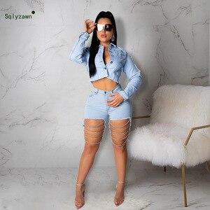 Женский сексуальный комплект из джинсовой куртки и брюк с дырочками и металлической цепочкой, комплект с синими джинсами, уличная одежда, о...