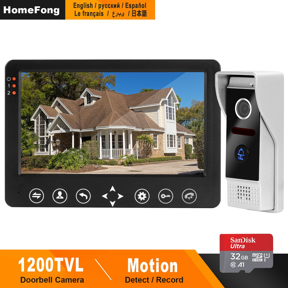 HomeFong Video Door Intercom System 1200TVL Wide Angle Support Motion Detection  Recordfor Home Security System Door Bell Camera