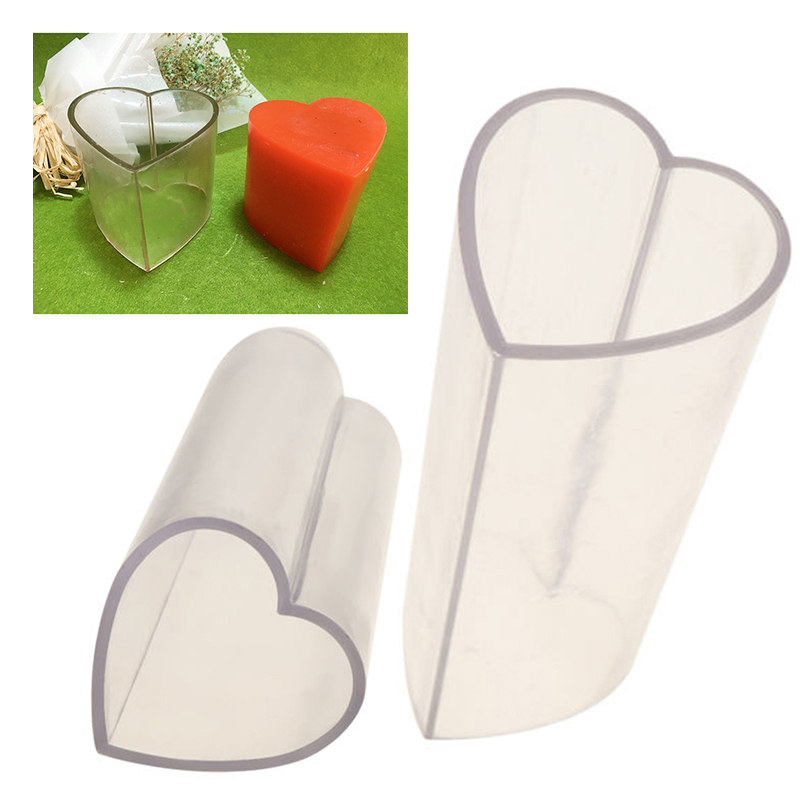 Candle Mold Clear Heart Shape Candle Mould Soap Mold Candle Wax Shaping Resin Crafts Making Mould Transparent Plastic Bottomless