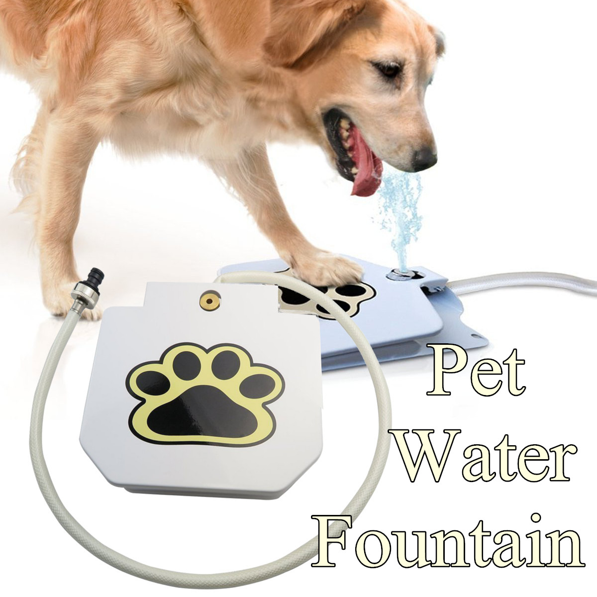 Pet Fountain Automatic Dog Water Feeder Outdoor Pet Activated Drinking Water Fountain Hose Step Spray Foot Pedal Water Bottle