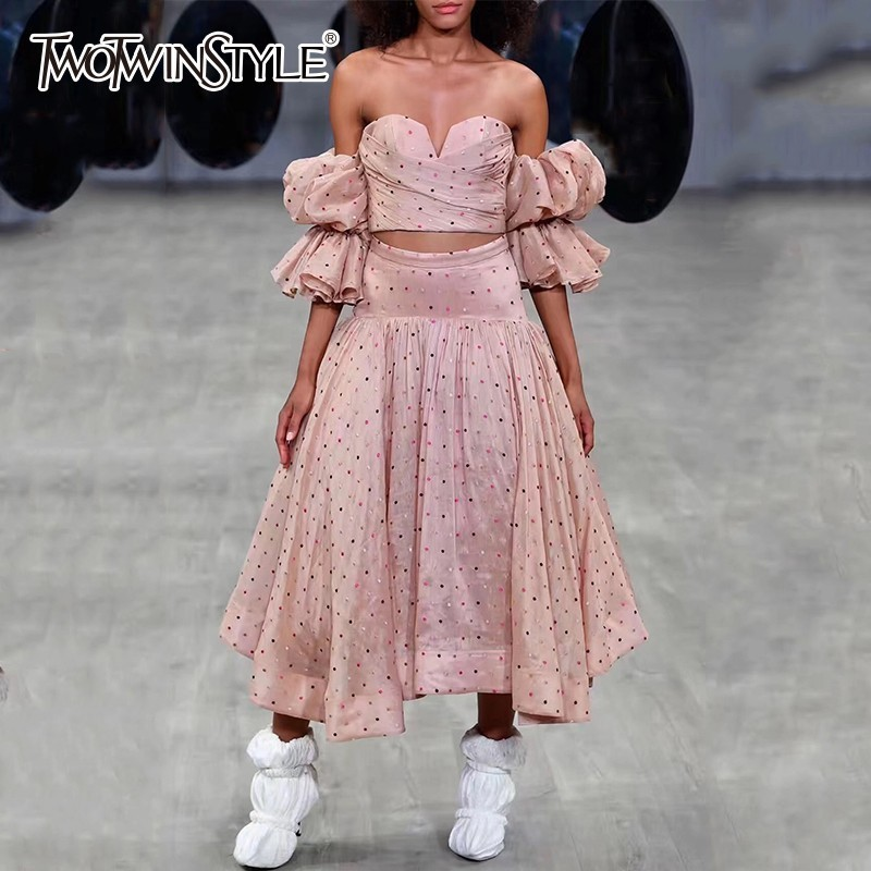 Deutwinstyle ensemble à pois pour femmes sans bretelles manches bouffantes haut vêtements avec taille haute Slim jupe deux pièces ensemble femme 2019 nouveau