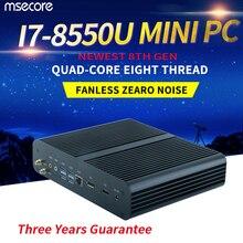 MSECORE безвентиляторный Core i7 8550U DDR4 мини-ПК рабочего стола Windows 10 компьютерный неттоп игры PC Скелет аудиовидеоцентра UHD620 Графика 4 K HD WiFi