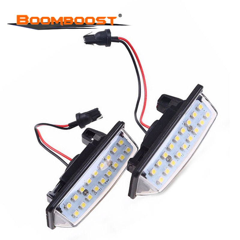 2pcs lighting for <font><b>Nissan</b></font> TEANA E11 <font><b>E12</b></font> C25 C26 2x Error Free Xenon White LED license plate light car-styling image