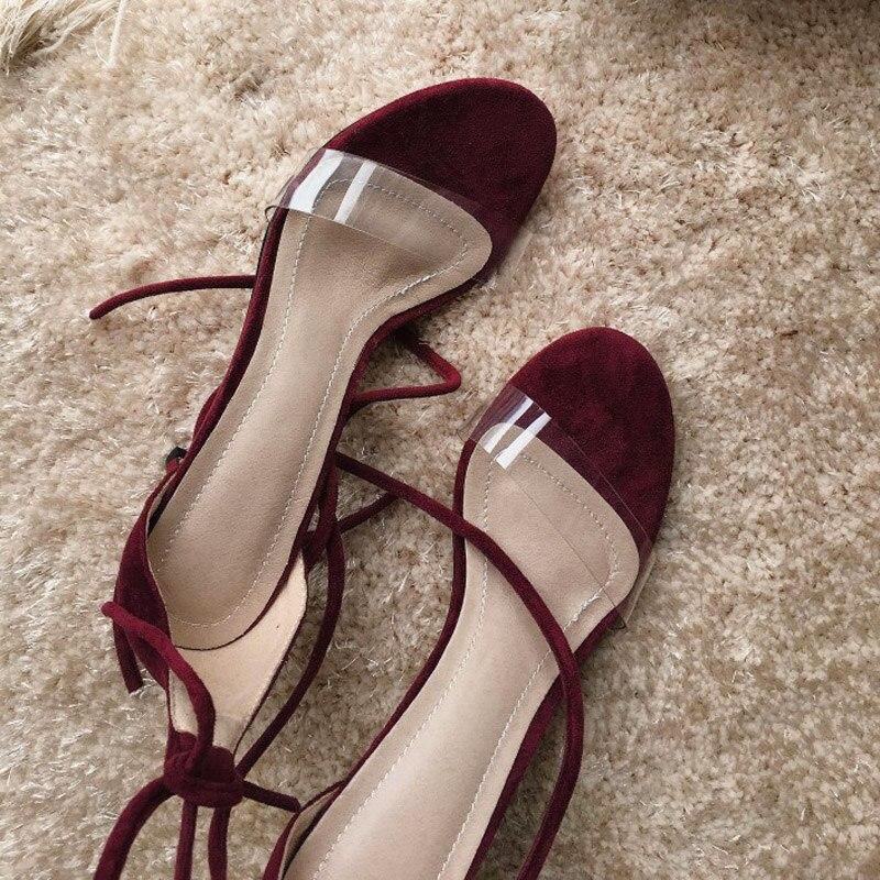 Xianyiduo2019 летняя модная пикантная женская обувь винно Красные босоножки с закрытой пяткой, прозрачный высокий каблук, большие размеры 40 46, отк... - 6
