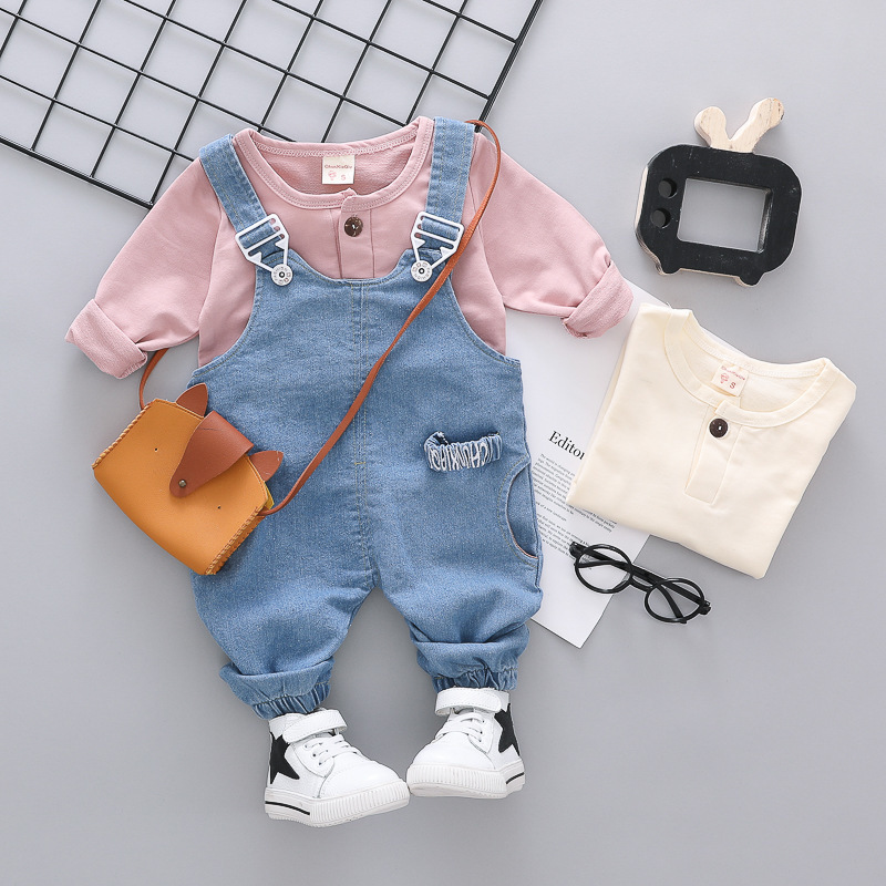 Children Boys Girls T-shirt Cowboy Straps Pants 2Pcs/Sets Spring Summer Baby Fashion Cotton Clothing Sets Kids Leisure Tracksuit