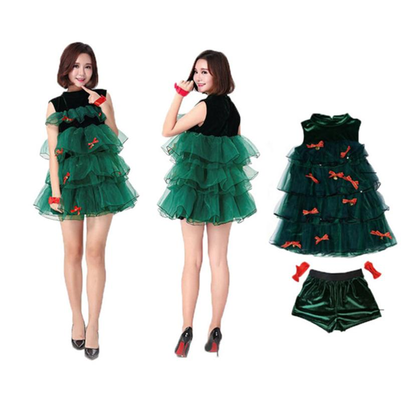 0542ad7d3dc1 Christmas Trees Dress Set Green Sleeveless Halter Sexy Stage Performance Clothes  Xmas Party Costumes for Girls Adults Women-in Pendant & Drop Ornaments from  ...