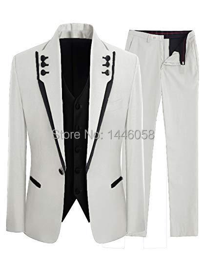 2019 Slim Fit Mens White Groom Suits 3 Pieces Formal Dress Wedding Men Suit Set Men Wedding Suits Groomsmen Groom Tuxedos