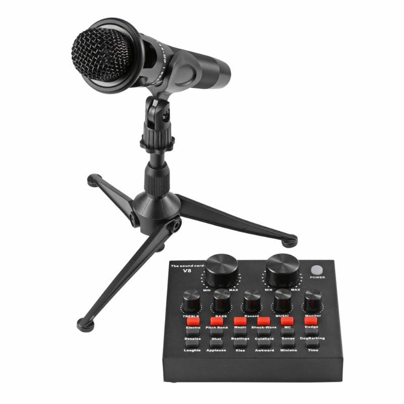 Professional Studio Condenser Microphone for Computer Laptop Phone recording Multi-function Sound Card Webcast mikrofon sets felyby multi function live sound card professional condenser microphone bm800 for computer karaoke network podcast microphone