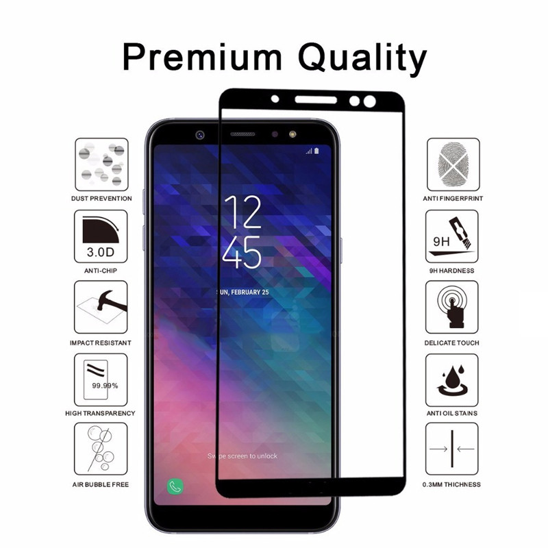 Image 2 - Tempered Glass For Samsung Galaxy A6 2018 A6plus A600F Screen Protector on the For Samsung A6 Plus A6+ A 6 Protective Film Cover-in Phone Screen Protectors from Cellphones & Telecommunications