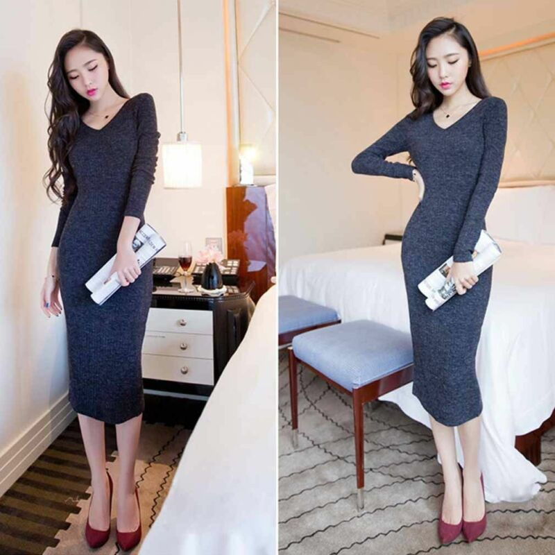 Knit Bodycon Sweater Jumper Womens Sleeve Dresses Pencil Long V Neck Dress