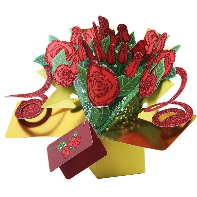 rose bouquet 3d pop up cards valentine greeting card