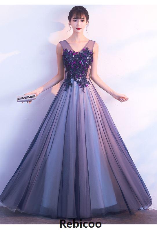Rebicoo nouveau violet Net fil longue robe Sexy col en v plissé Maxi robe de soirée femmes sans manches Slim a-ligne robe