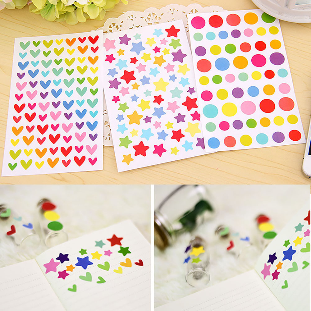 Album Sticker Paper Little Round Dots Lovely School Supplies Scrapbooking Label Cute Love Heart RFID Blocking Diary Decorative