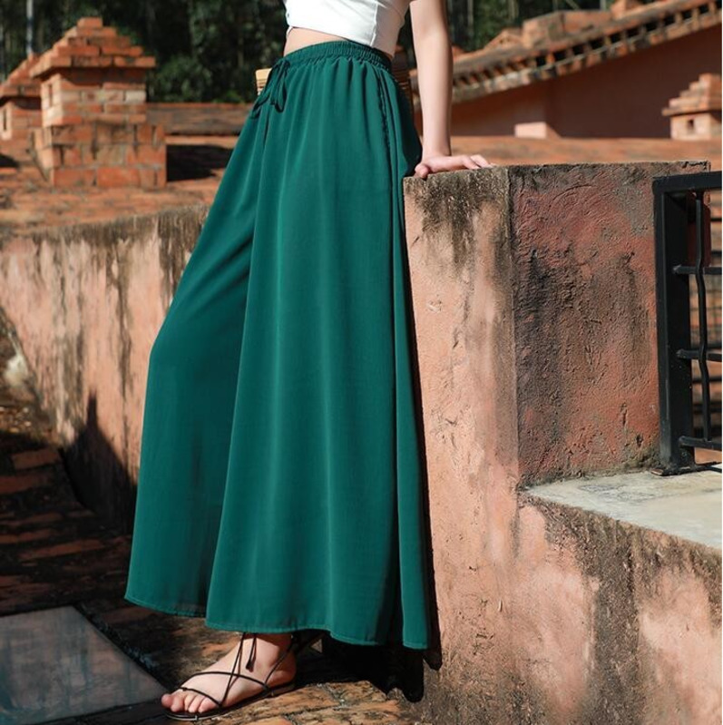0430 Yellow Green Koran Fashion Chiffon Wide Leg Pants Women Casual Summer Loose Elastic High Waist Solid Color Full Length in Pants amp Capris from Women 39 s Clothing