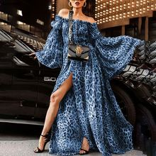цена на 3 Colors Plus Size Summer Fall Bohe Dress Off Shoulder Sexy Leopard Printed Maxi Dress Ladies Chiffon Split Long Sleeves Dress