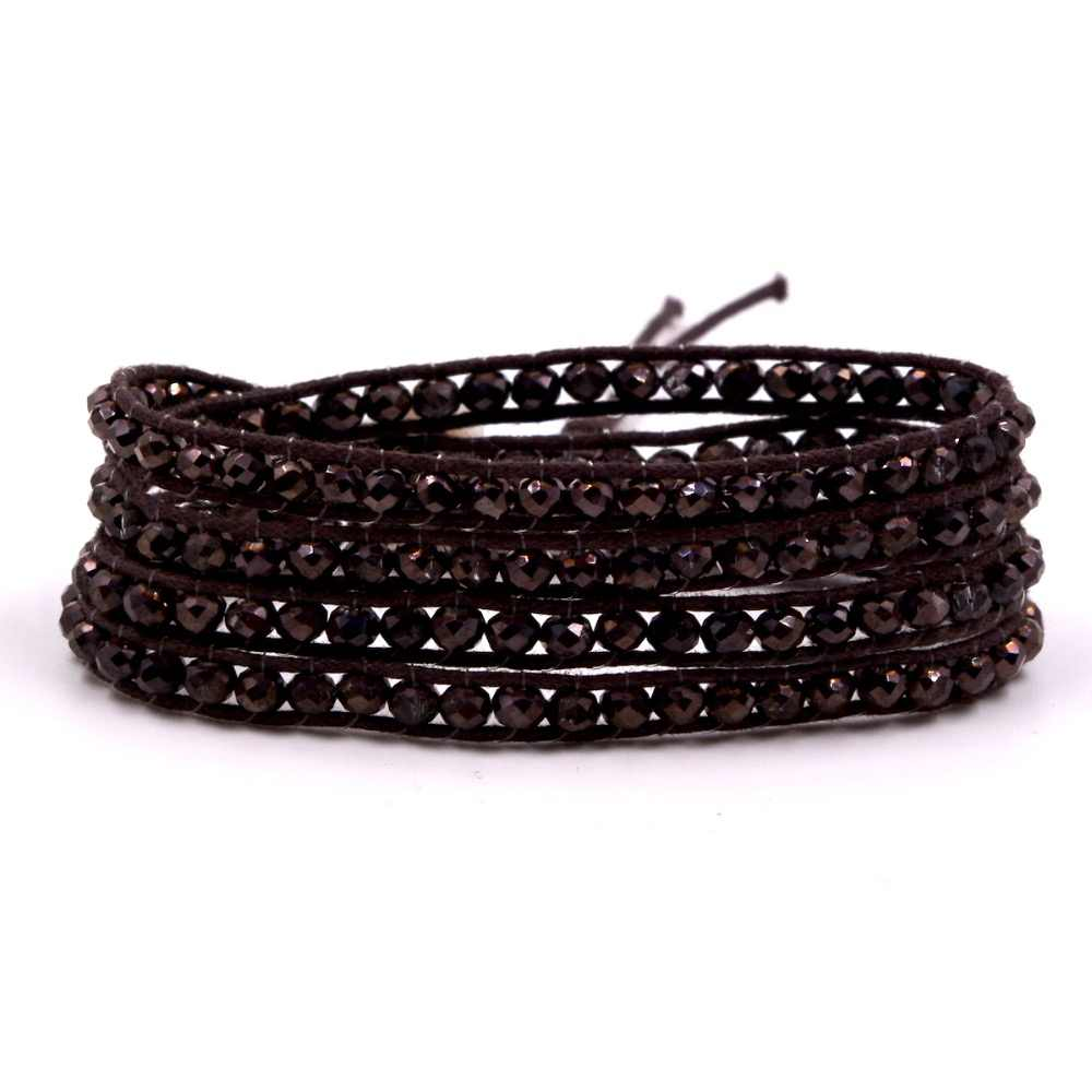 Wholesale Price Gift For Women DIY Leather Bracelet 4 Rows dark brown 4mm chocolate Crystal Beads Leather Wrap Bracelets