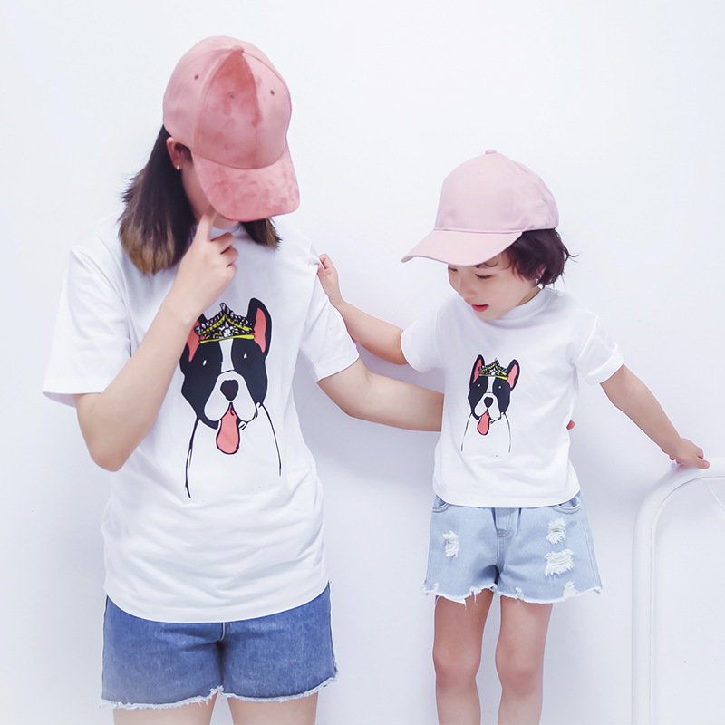 Family Tshirt 2020 Family Matching Clothes Dog Parttern Father Mother Daughter Son Tshirt Clothing Daddy Mommy And Me Tops image