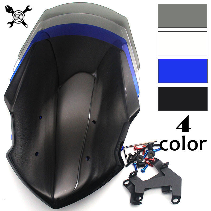 Motorcycle Windshield WindScreen Visor Viser Fit For YAMAHA FZ07 MT07 MT-07 2018 2019 18-19 Double BubbleMotorcycle Windshield WindScreen Visor Viser Fit For YAMAHA FZ07 MT07 MT-07 2018 2019 18-19 Double Bubble