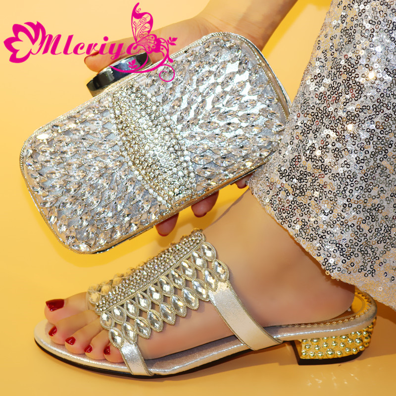 0730 silver New Arrival Designer Shoes Women Luxury 2019 Italian Shoes with Matching Bags Nigerian Women Wedding Party Shoes