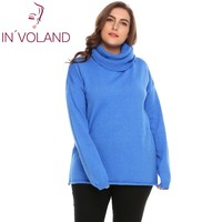 IN'VOLAND Women Wool Sweater Tops Plus Size L 4XL 2018 Spring Autumn Cowl Neck Long Sleeve Solid Knit Pullover Jumper Large Size