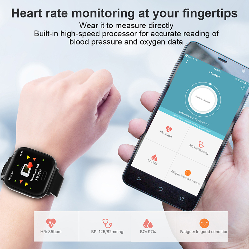YH1 Smartwatch Bluetooth Men Women Smart Watch Fitness Tracker Heart Rate Monitor Blood Pressure Sport WristBand For Android IOS in Smart Watches from Consumer Electronics