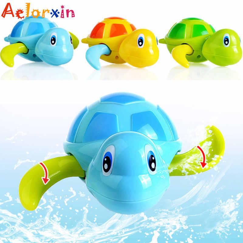 น่ารักสัตว์เต่า Baby Bath ของเล่นเด็กของเล่นเด็กการศึกษาทารกว่ายน้ำ Wind Turtle Chain Clockwork ของเล่นคลาสสิกสำหรับทารกแรกเกิด