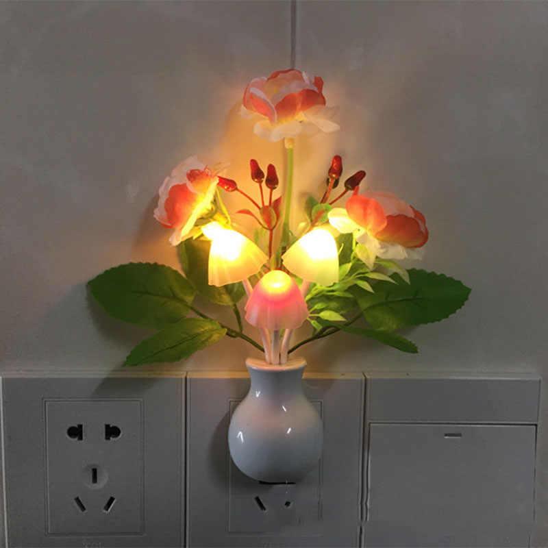 1pcs Novelty US Plug Led Night Light Induction Dream Mushroom Fungus LED Lamp