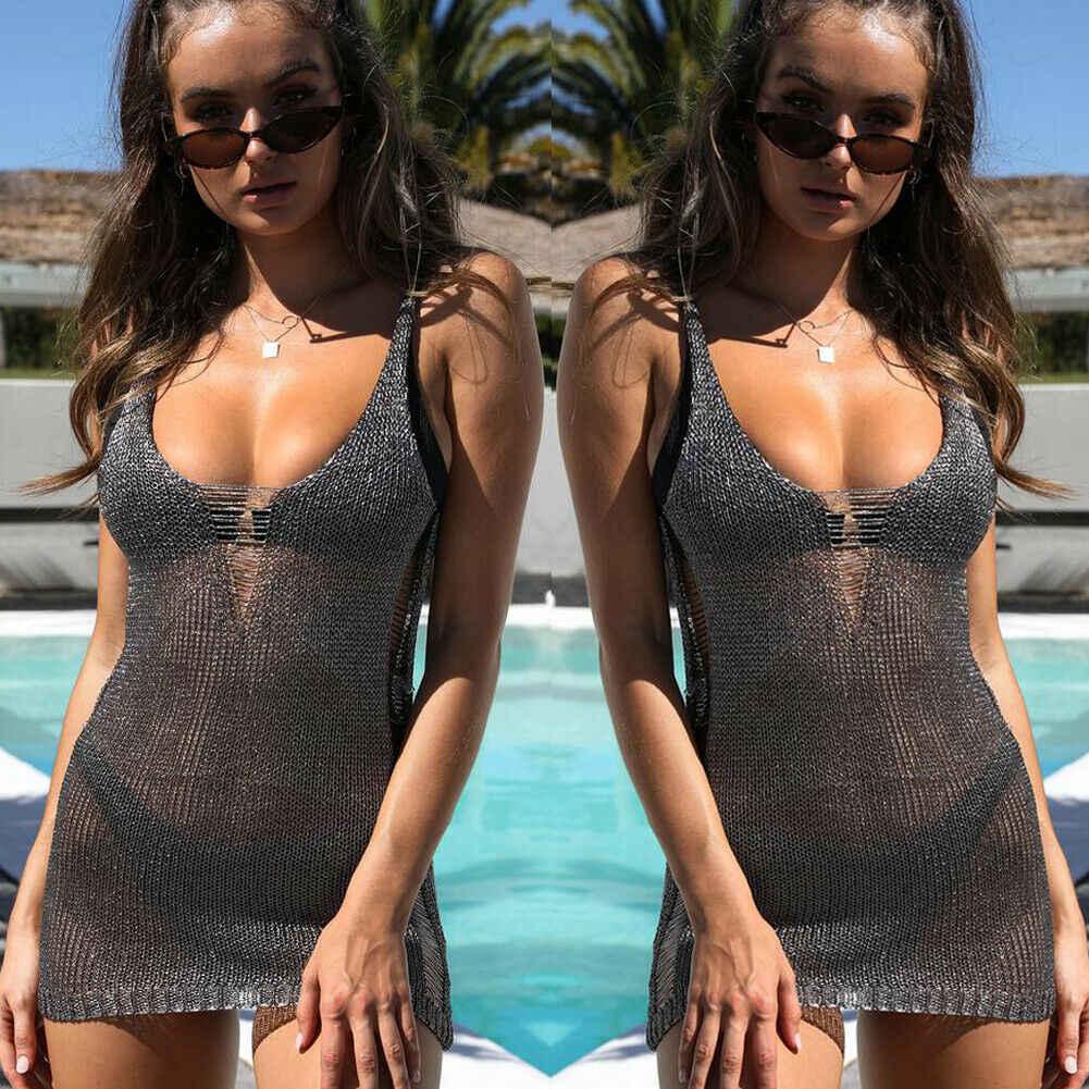 Новое праздничное женское летнее Сетчатое бикини в сеточку, купальный костюм, Пляжное платье, прозрачный однотонный вязаный мягкий чехол для платья