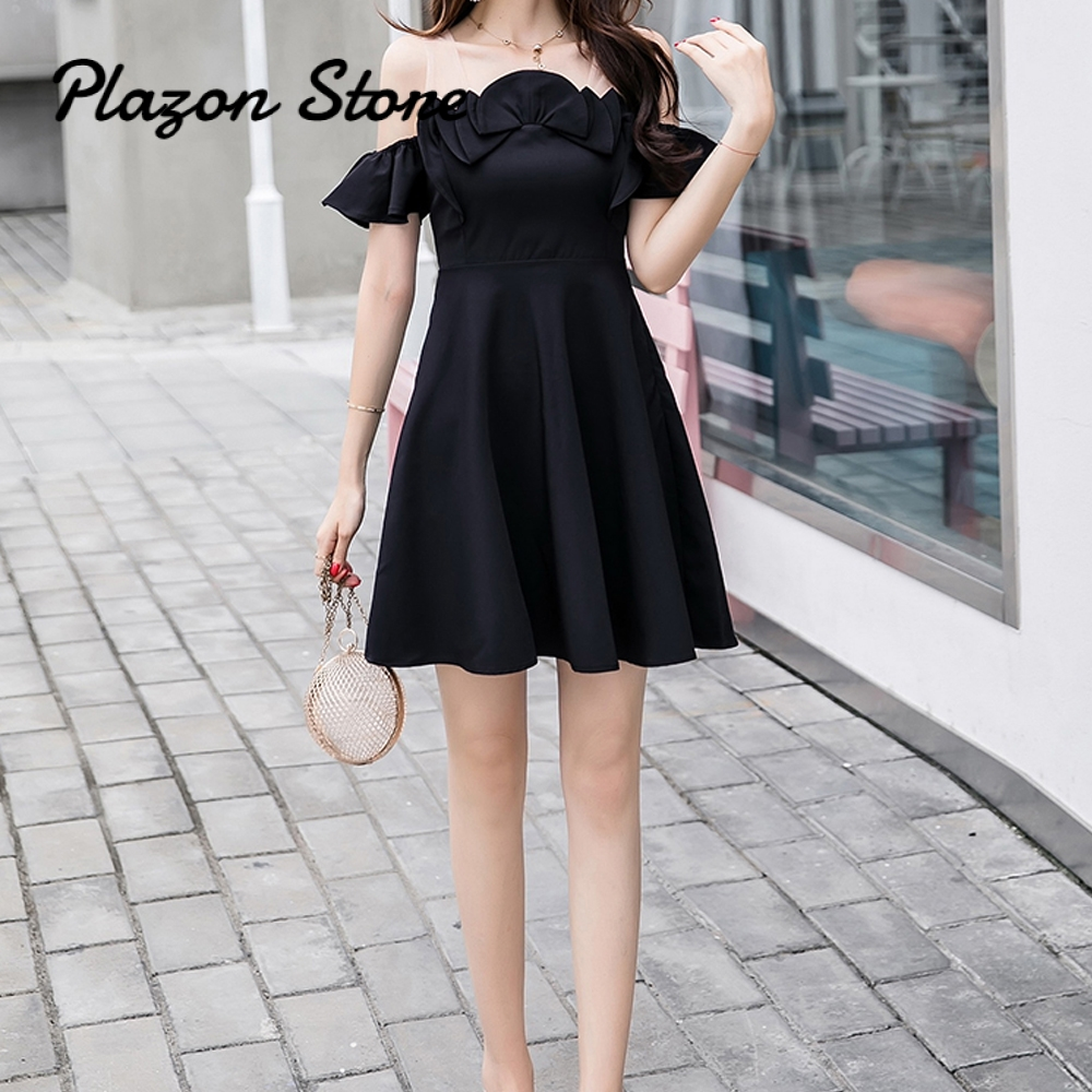 Black Dress Women Party Summer Strap Ruffled Stitching A-Line Harajuku Dresses
