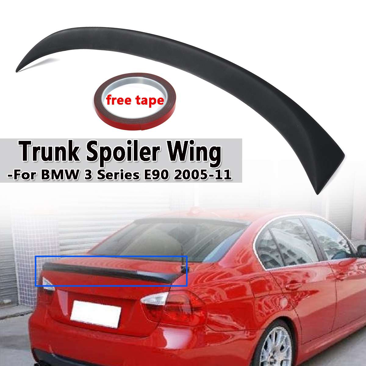 ABS Plastic Car Trunk Spoiler Wing For BMW 3 Series E90 2005-2011 Rear Wing Spoiler Rear Trunk Roof Wing Bright Black 120cmABS Plastic Car Trunk Spoiler Wing For BMW 3 Series E90 2005-2011 Rear Wing Spoiler Rear Trunk Roof Wing Bright Black 120cm