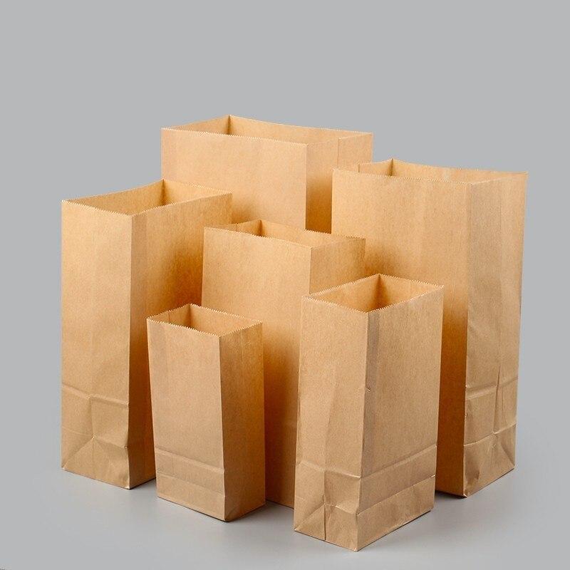 €14.64 14% de DESCUENTO|100 Uds. 7 tamaños nueva bolsa de papel Kraft bolsa de pan para hornear tuerca tostada alimentos Snack galletas cuadrado