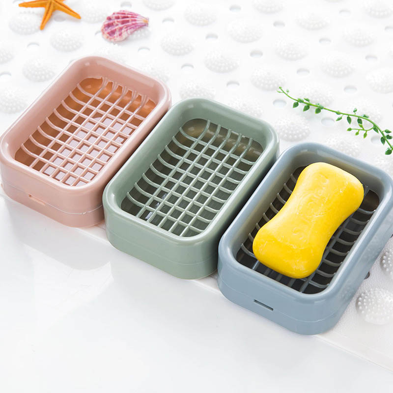 Soap Holder Double-layer Bathroom Accessories Plastic Shower Soap Dish Non-slip Draining Tool Drainage Soap Box 1PC