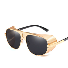 Side Shield Steampunk Sunglasses Men Luxury Brand 2019 Vintage Windpro
